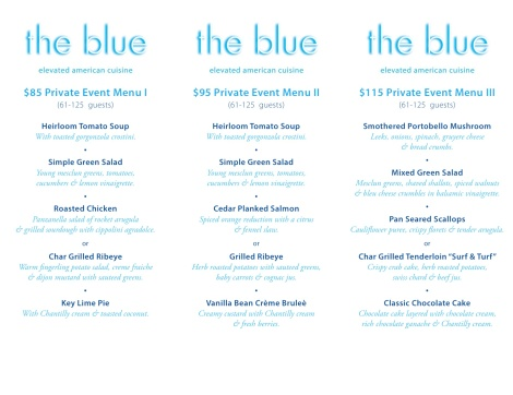 The Blue Private Dining Menus (61-125ppl)